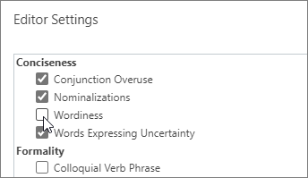 Switch the Wordiness setting on or off in the Conciseness category in Editor Settings.