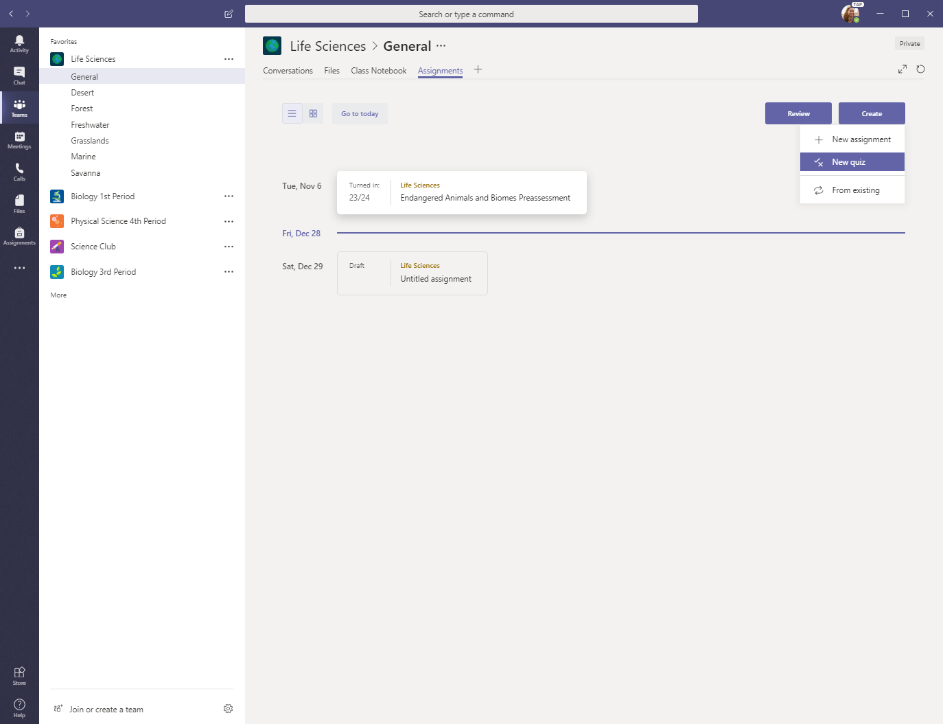 New quiz selection in Microsoft Teams Assignments tab