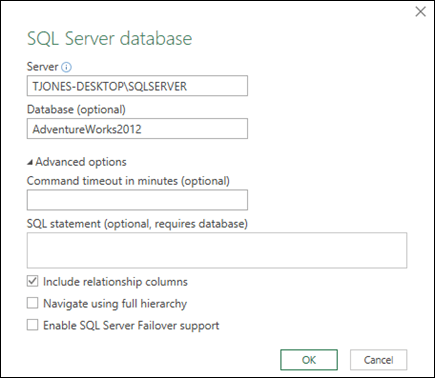 Power Query SQL Server Database connection dialog