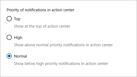 Notification priority settings
