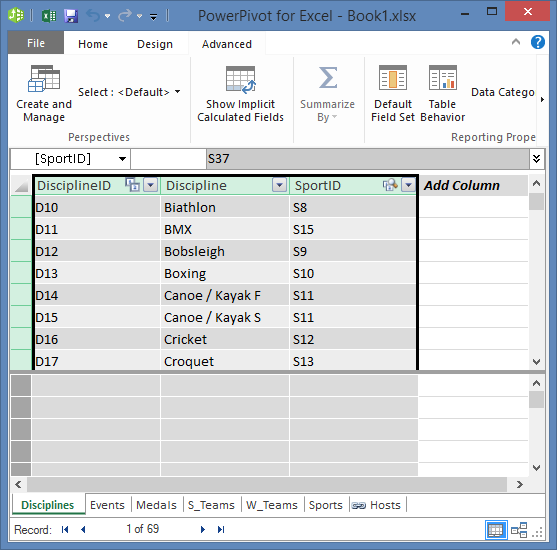 copy fields in Power Pivot