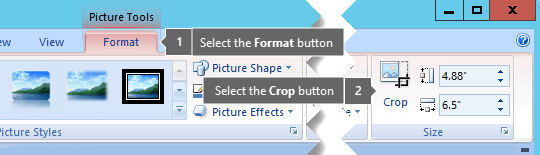 Crop button on the Picture Tools Format tab
