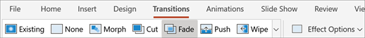 Transitions tab