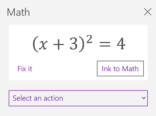 A math equation in the Math task pane