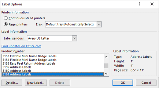 Label options dialog