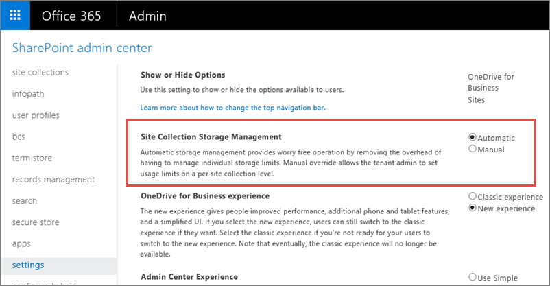 Office 365 SharePoint Online Settings Screen with Site Collection Managment highlighted