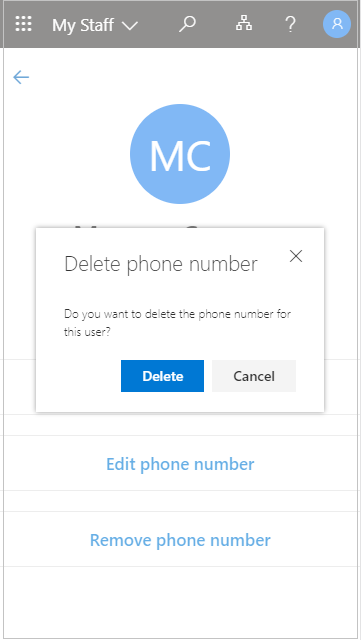 Remove a staff member phone number in My Staff