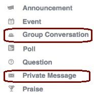 Screen shot showing the display of Group Conversations and Private Messages