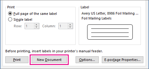 To enter addresses or other content for each label in a sheet, click New Document.