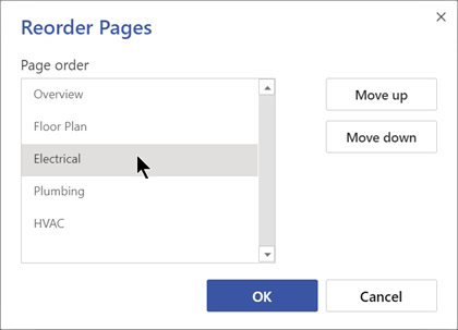 Rearrange pages by using the Reorder Pages dialog box.