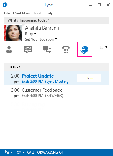 Screen shot of lync meeting environment