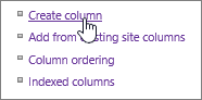 Closeup of Create column link in settings page