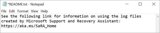 An image of the Microsoft Support and Recovery Assistant read me file open in notepad.