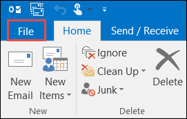 Outlook 2016 File tab