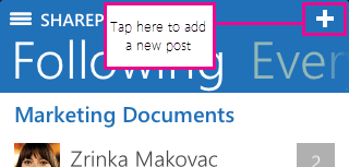 New post button in SharePoint Newsfeed app for iOS device