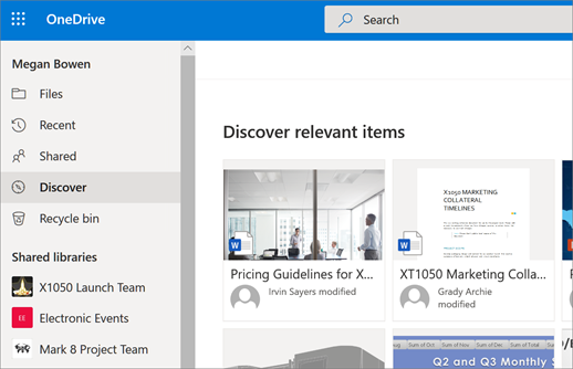 Screenshot of the Discover view in OneDrive for Business