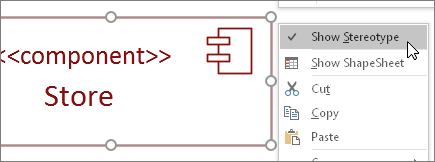 Right-click menu, Show Stereotype command, <<component>> text label