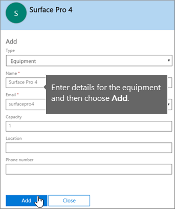 Add an equipment mailbox in Office 365
