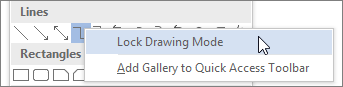 Selecting Lock Drawing Mode