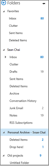 "Navigation pane from Outlook with ""Personal archive"" highlighted"