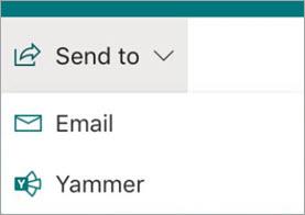 Send to Yammer menu item