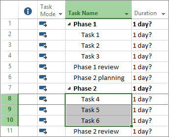Screenshot of outlined tasks in a project plan.