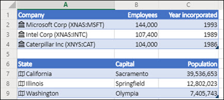 Image of Stock and Geography data types in Excel for the Web