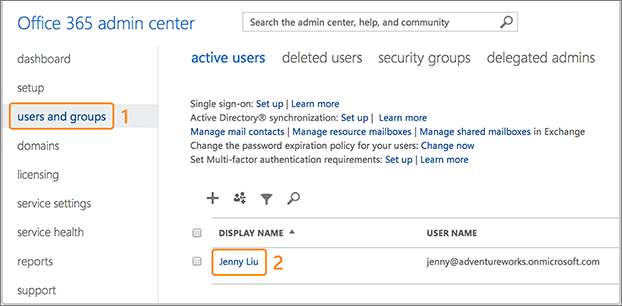 Screenshot showing where to add users to Office 365