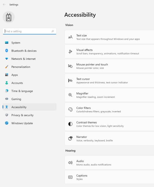 Windows 11 accessibility settings