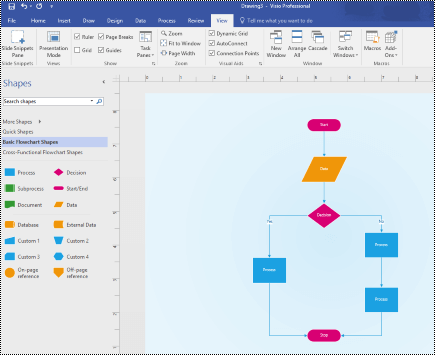 Overview of Visio with a basic flowchart diagram.