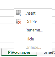 Delete command on the Sheet Tab menu