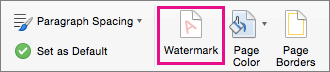 The Watermark option is highlighted on the Design tab.