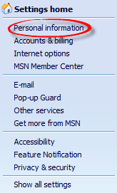 Select personal information on drop down