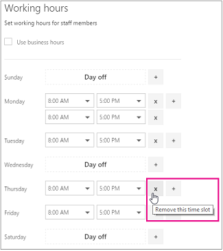 Working hours panel with X highlighted