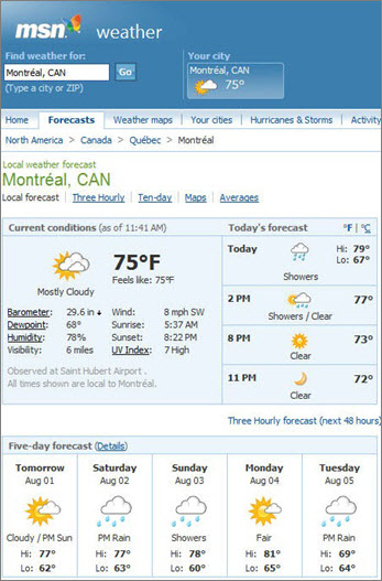 MSN page showing weather forecast for Montreal