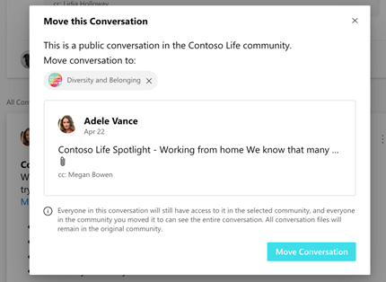 Moving a Yammer conversation