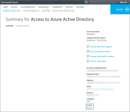 Shows the Overview page of the Summary for Access to Azure Active Directory. Information such as date purchased, current billing period, account admin, subscription ID, order ID, offer, offer ID, currency, and status is shown.