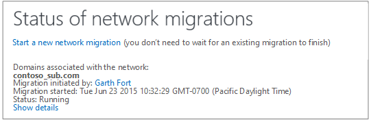 Screen shot showing the Status of network migrations - Yammer network migration is running