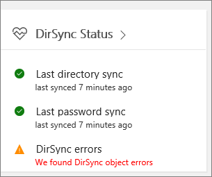 The DirSync Status tile in admin center preview