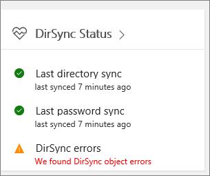 The DirSync Status tile in admin center preview