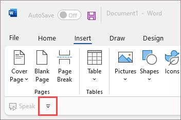 Quick Access Toolbar below the ribbon