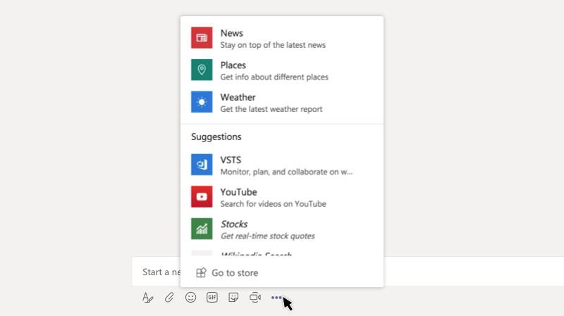 Messaging app menu