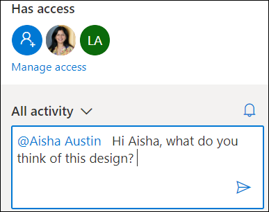Activity card in OneDrive showing the @mention feature.