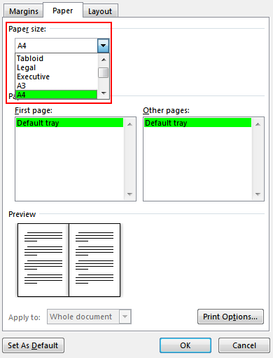 On the Paper tab, select the Paper size. The final size of the booklet is one half of the paper size. Make sure your printer is stocked with paper of the right size.