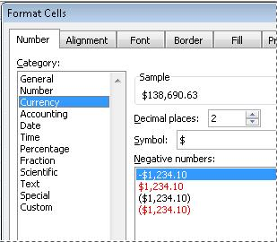 quick start format numbers in a worksheet excel