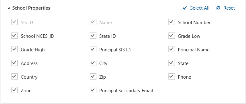 Screenshot from the SDS sync profile setup wizard displaying School Properties