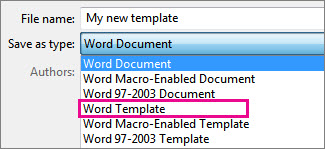 Save document as a template