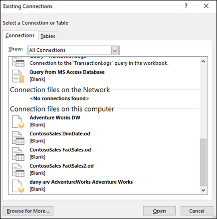 Select from existing connections or queries