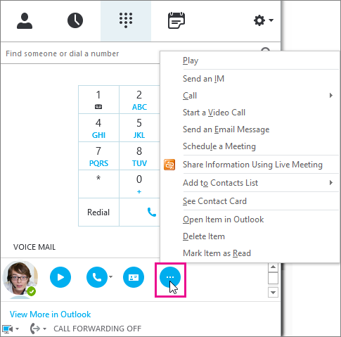 Check skype for business voicemail and options skype for business voicemail more options m4hsunfo