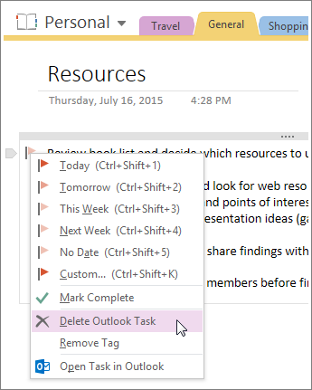 Screenshot of how to delete an Outlook task in OneNote 2016.